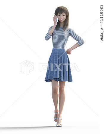 電話するロングヘアの若い女性  perming3DCGイラスト素材 41119035