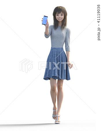 スマホを見せるロングヘアの若い女性  perming3DCGイラスト素材 41119036