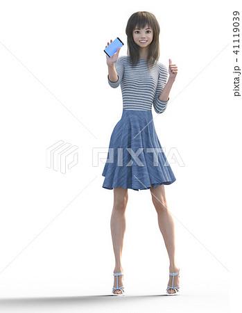 スマホを見せてサムズアップするロングヘアの若い女性  perming3DCGイラスト素材 41119039