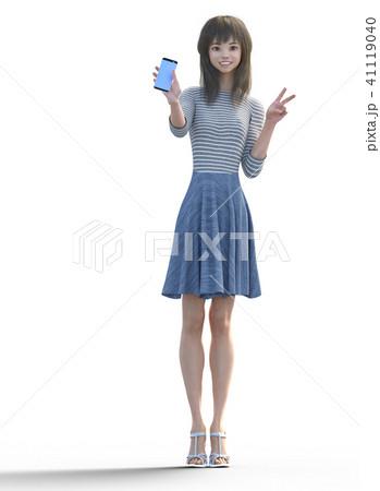 スマホを見せてピースサインするロングヘアの若い女性  perming3DCGイラスト素材 41119040