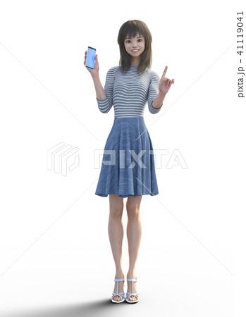 スマホを見せてワンポイントするロングヘアの若い女性  perming3DCGイラスト素材 41119041