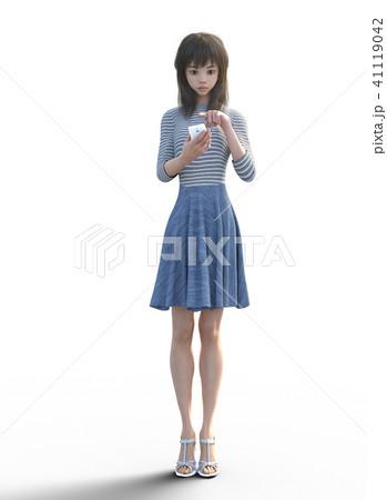 ネット予約するロングヘアの若い女性  perming3DCGイラスト素材 41119042