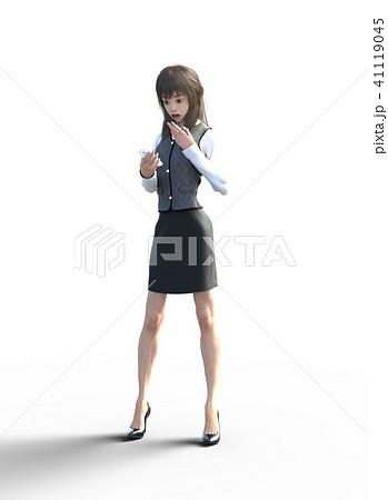 スマホを見て驚くビジネスウェアの若い女性 perming3DCGイラスト素材 41119045