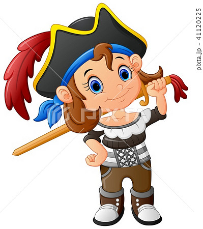 Pirate girl holding wooden sword  41120225