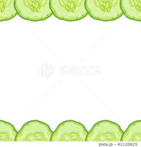 Vector decorative border of cucumber slice 41120625