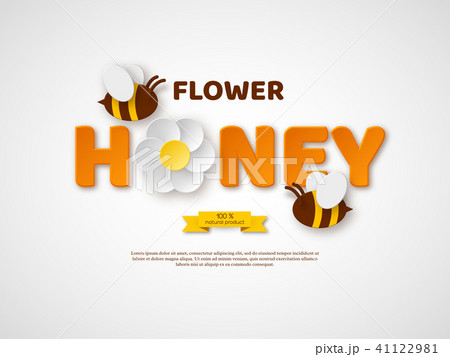 flower honey typographic design paper cut style letters flower and