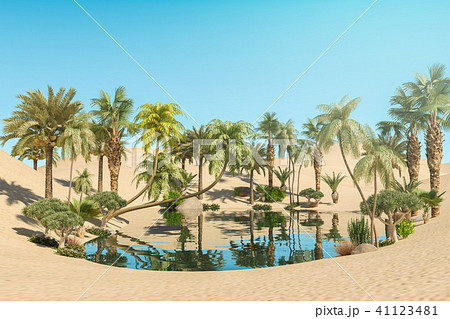 Oasis and Palm Trees in Desert, 3D Rendering 41123481