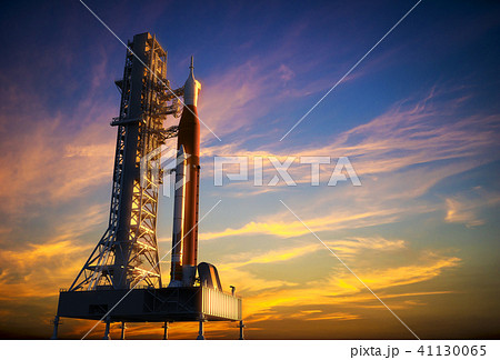 Space Launch System On Launchpad Over Background Of Red Clouds 41130065