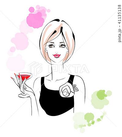 カクテルグラスを持つ女性 41135138