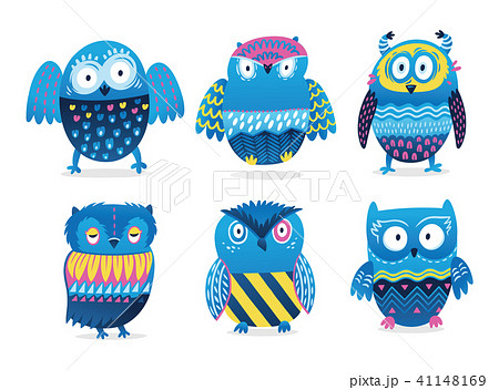 Owls. Cute birds vector character set isolated on white 41148169