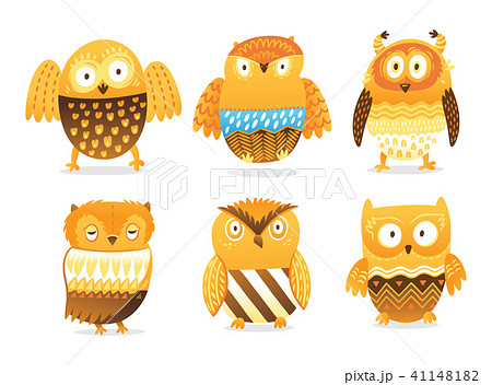 Owls. Cute birds vector character set isolated on white 41148182