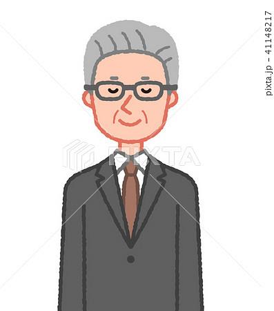 スーツ 目を閉じるシニア男性 41148217