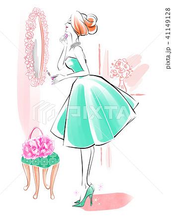 パウダールームの女性 緑のドレス 41149128
