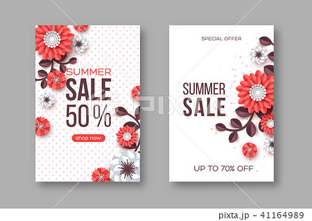 summer sale banners with paper cut flower and dotted pattern