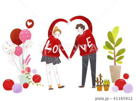 Vector - Couple in love, event day concept illustration 007 41165912