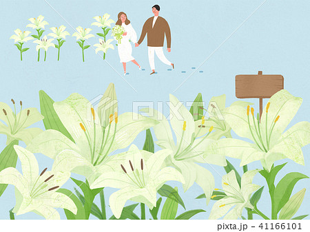 Scenery of blossoms in spring. a couple dating on spring landscape vector illustration. 004 41166101