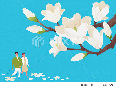Scenery of blossoms in spring. a couple dating on spring landscape vector illustration. 008 41166159