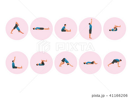 Training people icons set for sport and fitness. Flat style design vector illustration. 005 41166206