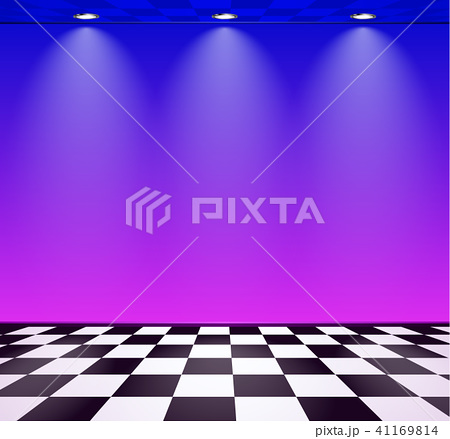 80s styled vapor wave room with blue and purple wall over checked floor 41169814