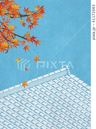 和紙の風合い 紅葉 屋根瓦 41172063