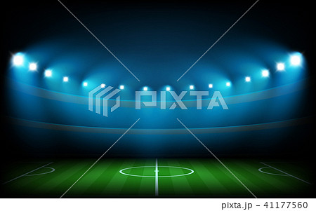 Soccer arena illuminated with spot lights 41177560