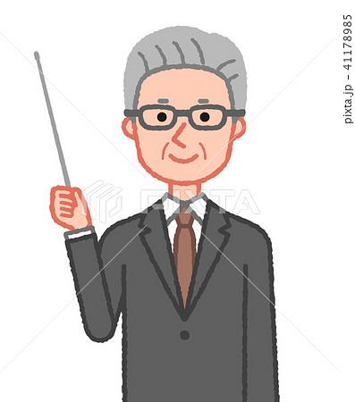 スーツ 指示棒を持つシニア男性 41178985