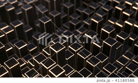 3D render Background from black and golden squares 41180566