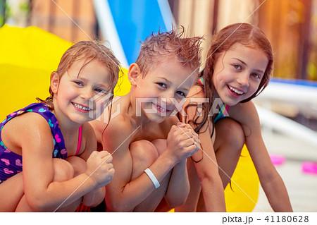 happy children in aqua parkの写真素材 41180628 pixta