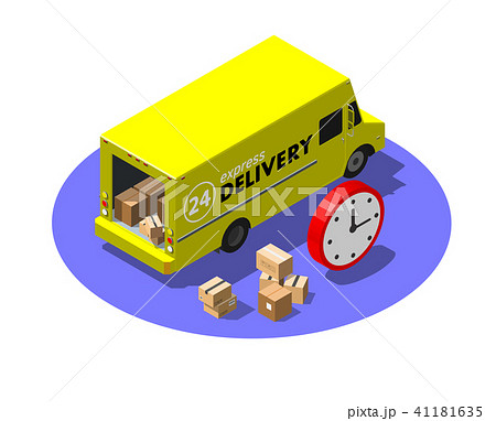 Express delivery service concept with yellow van and cardboard parcels. Modern isometric vector 41181635