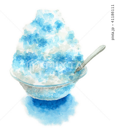 水彩で描いたかき氷ブルーハワイ 41186111