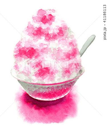水彩で描いたかき氷いちご 41186113