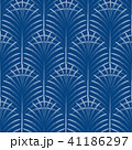 Art deco palm leaves geometry arch blue seamless pattern. 41186297