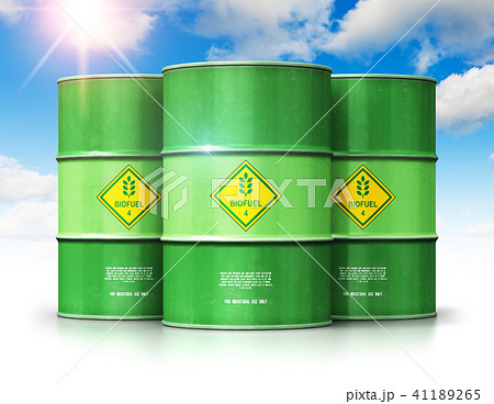 Green biofuel drums against blue sky with clouds 41189265