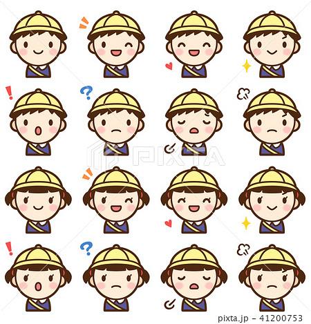 幼稚園 男の子女の子 顔 表情 かわいい アイコン セット 41200753