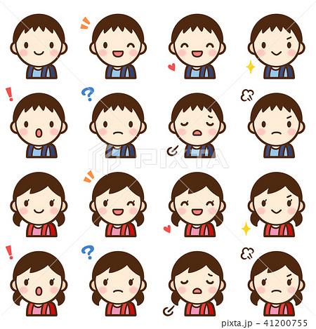 ランドセル 小学生 男の子女の子 顔 表情 かわいい アイコン セット 41200755