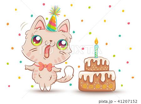 cat with Birthday cake 41207152