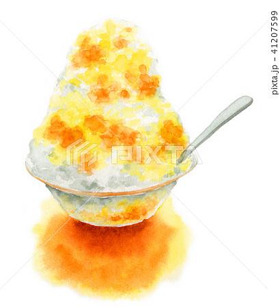 水彩で描いたかき氷マンゴーオレンジ 41207599