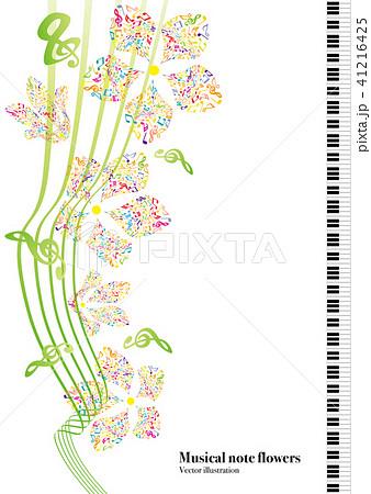 ベクター イラスト デザイン 音楽 音符 花 五線譜 飾り フレーム A3の