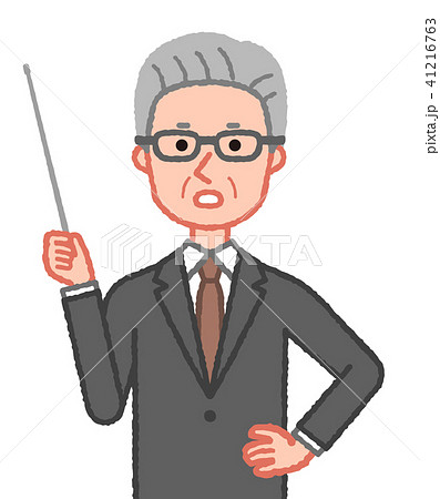 スーツ 指示棒を持ち注意を促すシニア男性 41216763