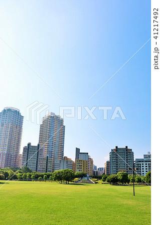 朝の青空と綺麗なマンション街の風景 41217492