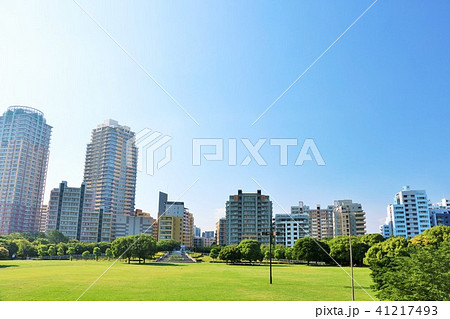 朝の青空と綺麗なマンション街の風景 41217493