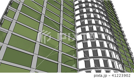 abstract 3d building wireframe illustration のイラスト素材