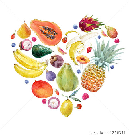 Watercolor exotic fruits composition 41226351