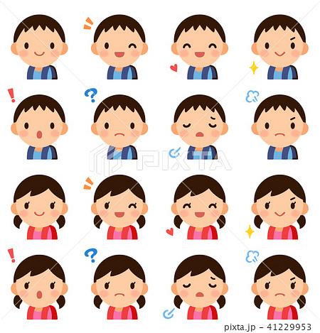 ランドセル 小学生 男の子女の子 顔 表情 かわいい フラット アイコン セット 41229953