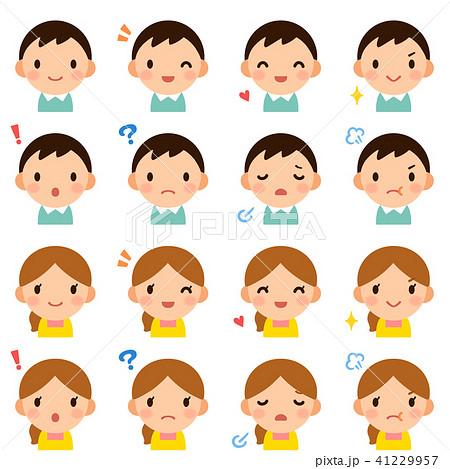 若い夫婦 お父さん お母さん 男女 顔 表情 かわいい フラット アイコン セット 41229957