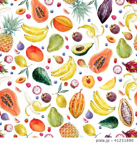 Watercolor exotic fruits vector pattern 41231890