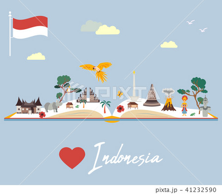 Indonesian map with animals and landmarks 41232590