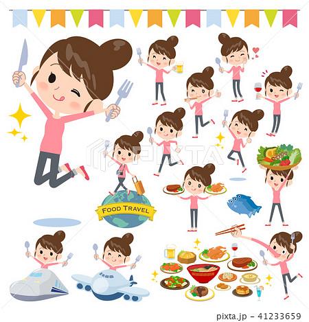 Bun hair mom Pants style_food festival 41233659