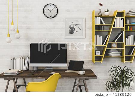 Interior of working area with desktop computer. 3d 41239126