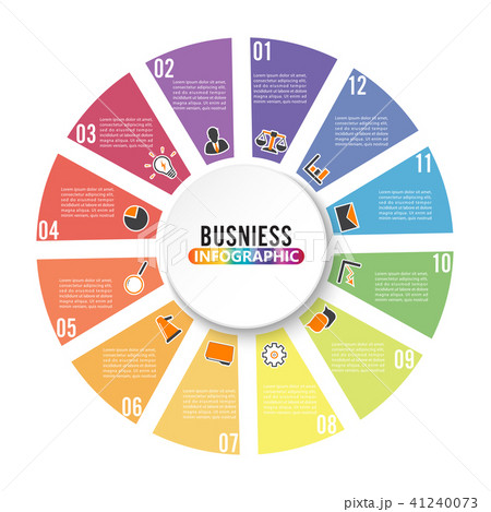 circle chart infographic template with 12 optionsのイラスト素材
